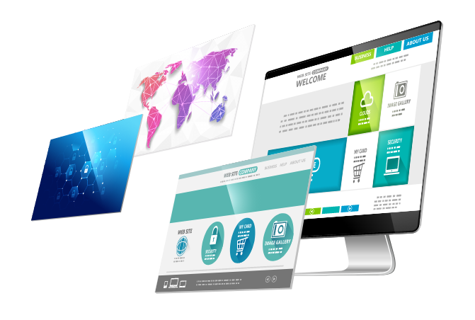 Multiple screens showcasing web design and development