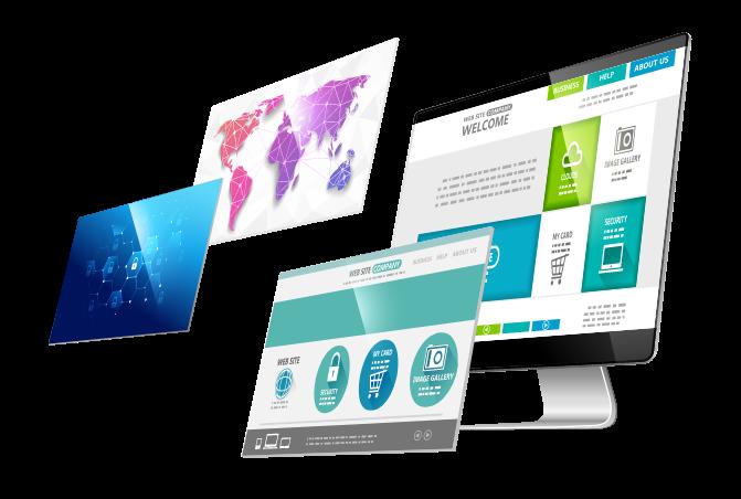 Multiple screens showcasing web design and development