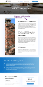"""Screenshot of the Kingfisher Home Inspections website, and where we used the keyword """"what is a WETT inspection"""" on the website"""